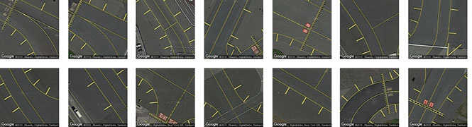 Runway lines from various New York ariports, identified by Terrapattern