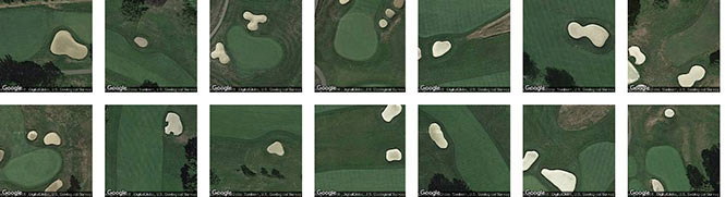 Golf course sand traps in Allegheny county, identified by Terrapattern
